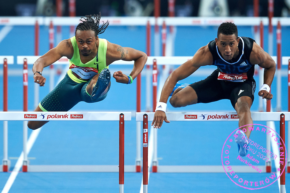 (L) Dayron Robles and (R) Orlando Ortega both from Cuba compete in men's 60 meters hurdles competition during athletics meeting Pedro's Cup at Atlas Arena in Lodz, Poland.<br /> <br /> Poland, Lodz, February 17, 2015<br /> <br /> Picture also available in RAW (NEF) or TIFF format on special request.<br /> <br /> For editorial use only. Any commercial or promotional use requires permission.<br /> <br /> Adam Nurkiewicz declares that he has no rights to the image of people at the photographs of his authorship.<br /> <br /> Mandatory credit:<br /> Photo by &copy; Adam Nurkiewicz / Mediasport