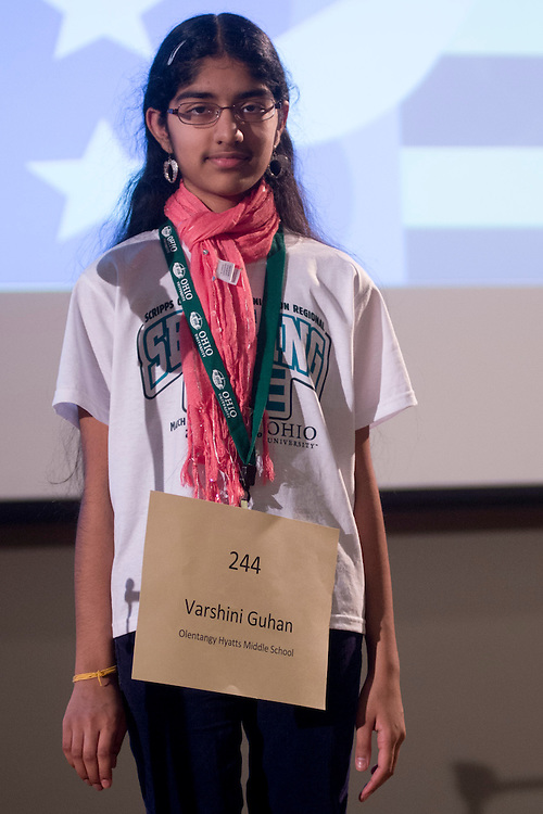 Varshini Guhan of Olentangy Hyatts Middle School introduces herself during the Columbus Metro Regional Spelling Bee Regional Saturday, March 16, 2013. The Regional Spelling Bee was sponsored by Ohio University's Scripps College of Communication and held in Margaret M. Walter Hall on OU's main campus.