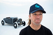 Image of Jeff Seliga and his hot rod racer at Speed Week 2018 at the Bonneville Salt Flats, Utah, American Southwest
