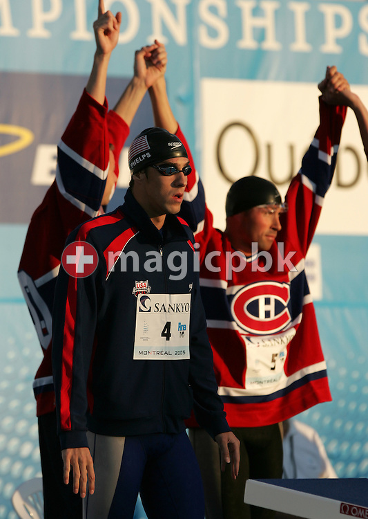 USA's Michael Phelps preapares for the start of the men's 4X100m Freestyle relay final the FINA World Championships in Montreal, Canada Sunday 24 July, 2005.  (Photo by Patrick B. Kraemer / MAGICPBK)
