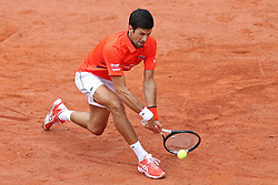 May 30, 2019 - Paris, France - Novak Djokovic (SRB) gets down low to return during the French Open Tennis at Stade Roland-Garros, Paris on Thursday 30th May 2019. (Credit Image: © Mi News/NurPhoto via ZUMA Press)