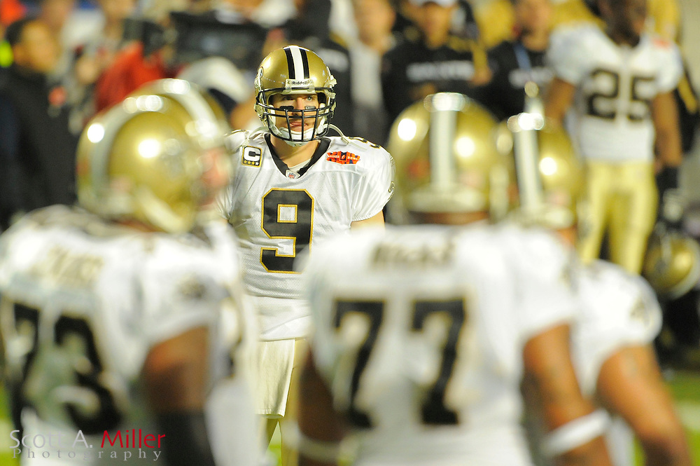 Miami, FL, USA; New Orleans Saints quarterback Drew Brees #9 during the Saints victory over the Indianapolis Colts 31-17 in Super Bowl XLIV at Sun Life Stadium on Feb 7, 2010...©2010 Scott A. Miller