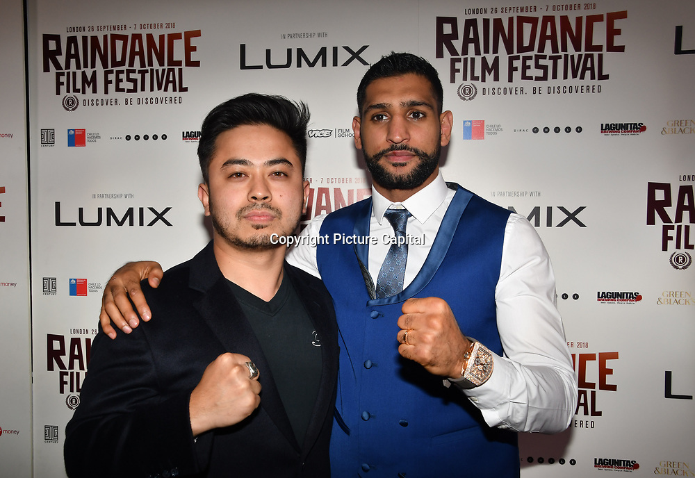 British Asain Boxer Amir Khan and fan attend World Premiere of Team Khan - Raindance Film Festival 2018 at Vue Cinemas - Piccadilly, London, UK. 29 September 2018.