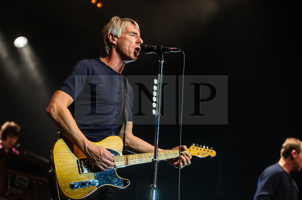 """© Licensed to London News Pictures. 09/03/2015Watford, UK. Paul Weller performs at The Colosseum, Watford, Herts as part of a tour of towns and cities """"often missed"""" by artists. The 14 date show kicked off on 5 March at the Plymouth Pavillions before heading to Swindon, Watford, Stoke-On-Trent, Halifax and more. Photo credit : Simon Jacobs/LNP"""