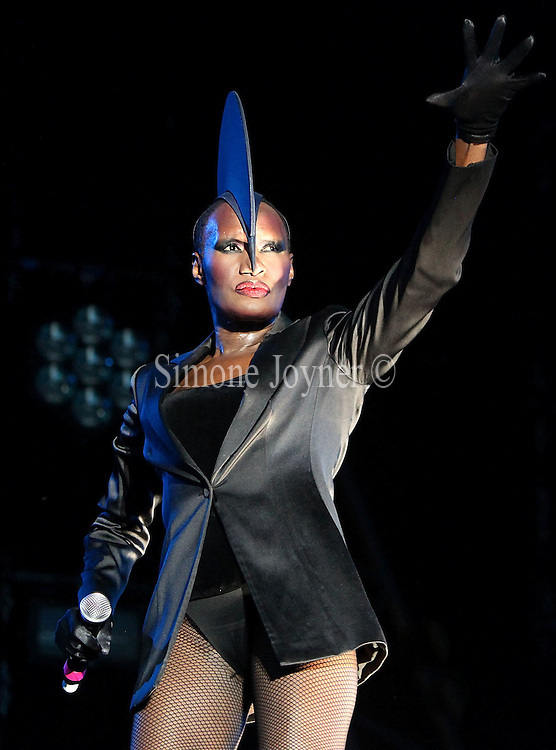 Grace Jones performs live on the main stage during day three of the Love Box Weekender 2010 at Victoria Park on July 18, 2010 in London, England.  (Photo by Simone Joyner)