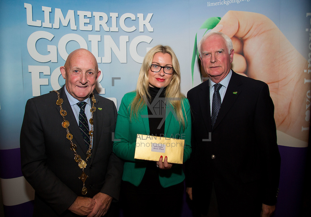 11.10.2016         <br /> The West of Limerick is awake and celebrating after Glin was announced as overall winner of Limerick Going for Gold 2016.<br /> Mayor of Limerick Cllr. Kieran O'Hanlon and Gerry Boland, JP McManus Foundation present Limerick In Bloom 3rd place Award Knockainey. Picture: Alan Place