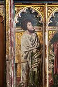 Medieval paintings of saints on rood screen inside church of Saint Andrew, Bramfield, Suffolk, England, UK - Saint Mark