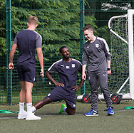 Dundee Fitness coach Blair Doughty shares a laugh with new boy Roarie Deacon during pre-season testing at University Grounds, Riverside, Dundee, Photo: David Young<br /> <br />  - &copy; David Young - www.davidyoungphoto.co.uk - email: davidyoungphoto@gmail.com
