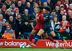 LIVERPOOL, ENGLAND - Sunday, October 7, 2018: Liverpool's Joe Gomez (L) and Manchester City's Leroy Sane during the FA Premier League match between Liverpool FC and Manchester City FC at Anfield. (Pic by David Rawcliffe/Propaganda)