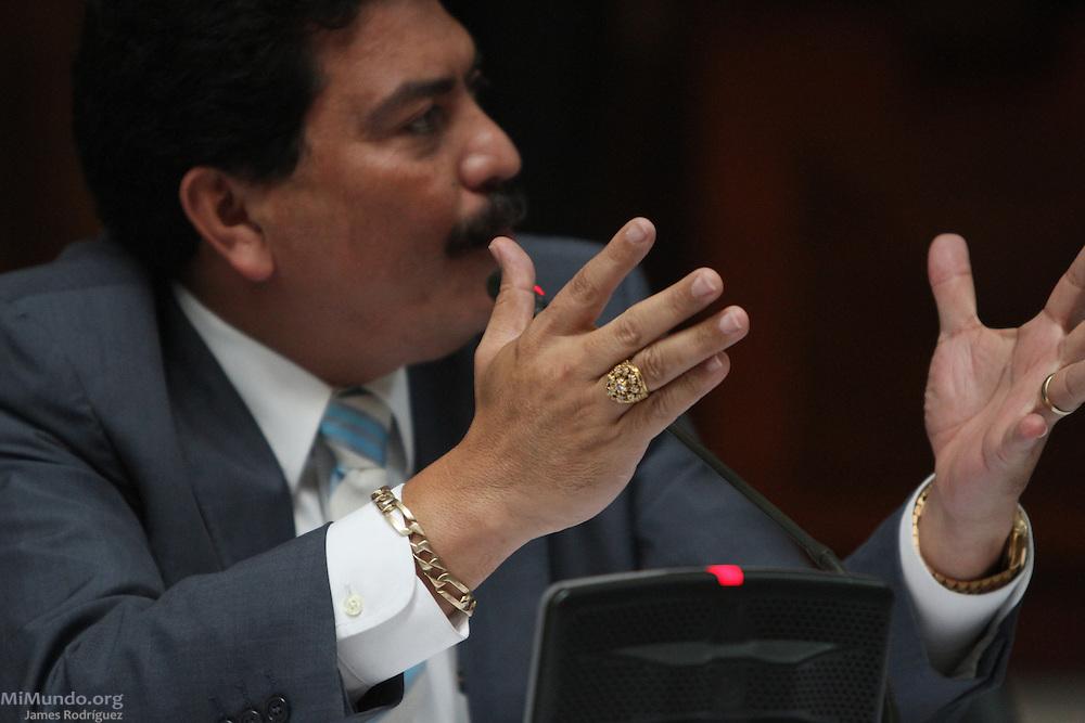 Defense lawyer Francisco Garcia Gudiel. Rios Montt Genocide Trial Day 26. Guatemala City, Guatemala. May 9, 2013.