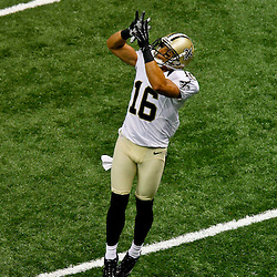 September 23, 2012; New Orleans, LA, USA; New Orleans Saints wide receiver Lance Moore (16) catches a pass in warm ups prior to kickoff of a game against the Kansas City Chiefs at the Mercedes-Benz Superdome. Mandatory Credit: Derick E. Hingle-US PRESSWIRE