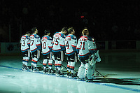 KELOWNA, CANADA - MARCH 4: Reid Gardiner #23, Calvin Thurkauf #27, Nick Merkley #10, Cal Foote #25, Gordie Ballhorn #4 and Brodan Salmond #31 of the Kelowna Rockets stand on the blue line as the starting line up against the Tri-City Americans on March 4, 2017 at Prospera Place in Kelowna, British Columbia, Canada.  (Photo by Marissa Baecker/Shoot the Breeze)  *** Local Caption ***