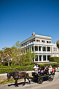Historic homes along the Battery with horse carriage tour in Charleston, SC.