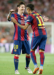 30.05.2015, Camp Nou, Barcelona, ESP, Copa del Rey, Athletic Club Bilbao vs FC Barcelona, Finale, im Bild FC Barcelona's Leo Messi (l) and Neymar Santos Jr celebrate goal // during the final match of spanish king's cup between Athletic Club Bilbao and Barcelona FC at Camp Nou in Barcelona, Spain on 2015/05/30. EXPA Pictures &copy; 2015, PhotoCredit: EXPA/ Alterphotos/ Acero<br /> <br /> *****ATTENTION - OUT of ESP, SUI*****