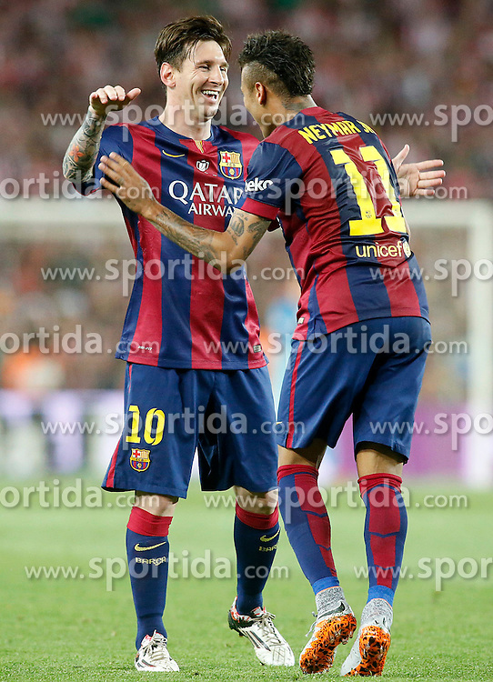30.05.2015, Camp Nou, Barcelona, ESP, Copa del Rey, Athletic Club Bilbao vs FC Barcelona, Finale, im Bild FC Barcelona's Leo Messi (l) and Neymar Santos Jr celebrate goal // during the final match of spanish king's cup between Athletic Club Bilbao and Barcelona FC at Camp Nou in Barcelona, Spain on 2015/05/30. EXPA Pictures © 2015, PhotoCredit: EXPA/ Alterphotos/ Acero<br /> <br /> *****ATTENTION - OUT of ESP, SUI*****