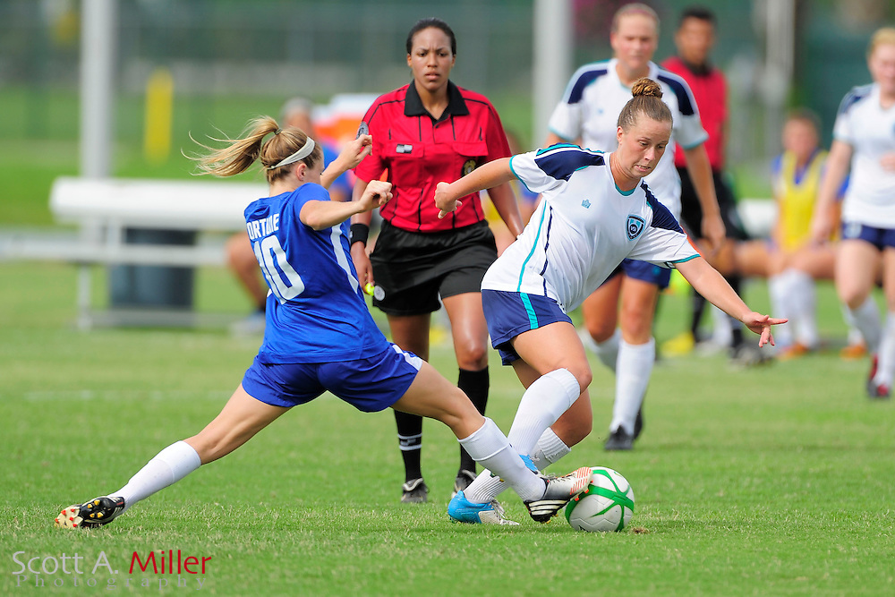 VSI Tampa Bay defender Dariela Alcantara (16) in action against the Charlotee Lady Eagles in a USL W-League soccer match at Plant City stadium in Plant City, Florida on June 7, 2013.<br /> <br /> &copy;2013 Scott A. Miller