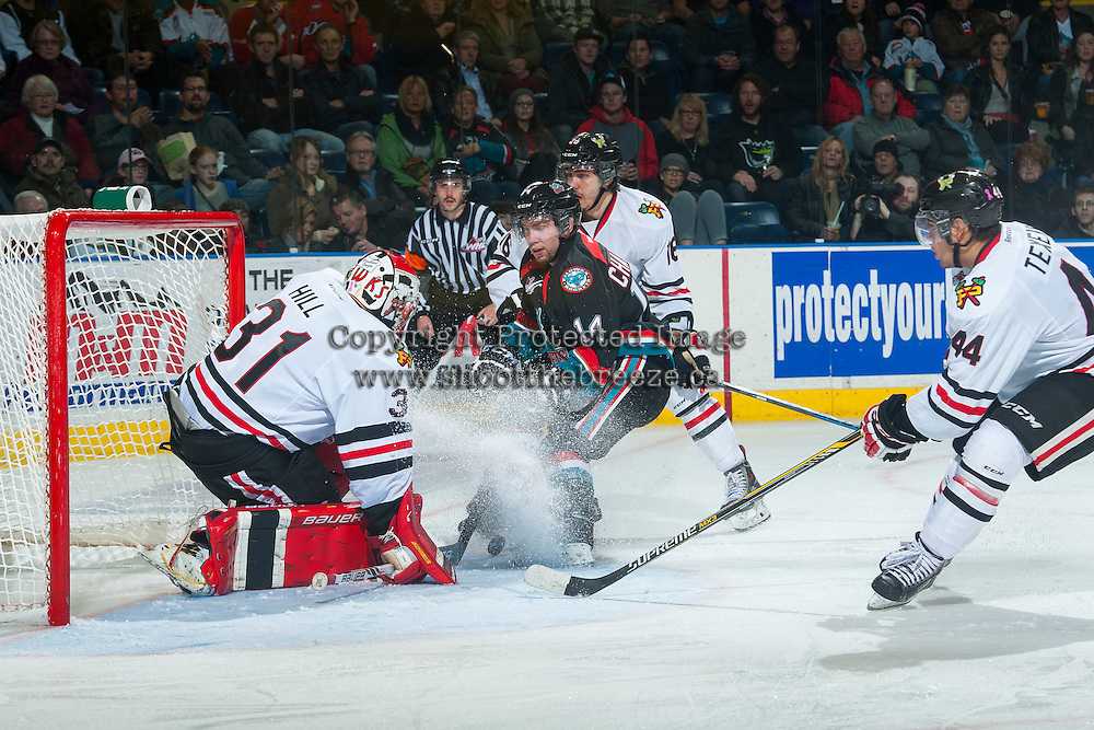 KELOWNA, CANADA - NOVEMBER 22: Rourke Chartier #14 of Kelowna Rockets tried to score on goal on Adin Hill #31 of Portland Winterhawks as he defends the net during third period on November 22, 2014 at Prospera Place in Kelowna, British Columbia, Canada.  (Photo by Marissa Baecker/Shoot the Breeze)  *** Local Caption *** Rourke Chartier; Adin Hill;