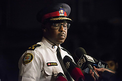 Police chief Mark Saunders speaks to press following a mass casualty event in Toronto, ON, Canada, on Sunday, July 22, 2018. A young woman has been killed and 13 others injured in a shooting incident in Toronto, Canadian police say. The Sunday night shooting happened in the Danforth and Logan avenues area. The gunman died in an exchange of fire. Among those injured is a young girl, described as in a critical condition. Police are appealing for witnesses. Photo by Christopher Katsarov/ABACAPRESS.COM