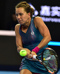 BEIJING, Oct. 6, 2017  Barbora Strycova of the Czech Repubic hits a return during the women's singles quarter-final match against her compatriot Petra Kvitova at the China Open tennis tournament in Beijing on Oct. 6, 2017. Barbora Strycova lost the match 0-2.  dx) (Credit Image: © Zhang Chenlin/Xinhua via ZUMA Wire)