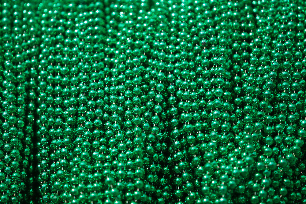 March 11, 2012, Green Mardi Gras beads on a float in the  St. Patrick's Day Parade in Metairie, Louisiana. St. Patrick's Day celebrations kick off early in Metairie Louisiana with the annual Metairie Road St. Patrick's Day parade.