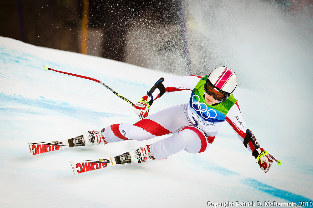 Nicole Schmidhofer, AUT, competes in the Women's Super G during the 2010 Vancouver Winter Olympics in Whistler, British Columbia, Saturday, Feb. 20, 2010.