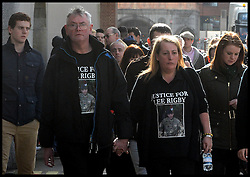 The family of the murdered soldier Lee Rigby L to R stepfather Ian mother Lyn  arrive at the  The Old Bailey, London, United Kingdom. Wednesday, 26th February 2014. for the Sentencing of his killers Picture by Andrew Parsons / i-Images