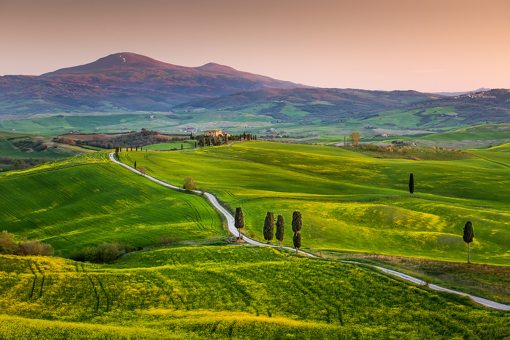 Val d'orcia and mt. Amiata after sunset