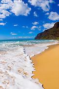 Surf and sand at Polihale Beach, Polihale State Park, Island of Kauai, Hawaii