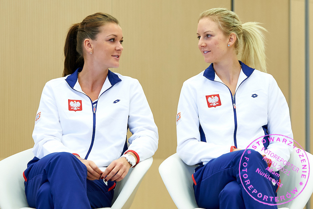 (L) Agnieszka Radwanska and (R) Urszula Radwanska  both from Poland during official draw one day before the Fed Cup / World Group 1st round tennis match between Poland and Russia at Holiday Inn on February 6, 2015 in Cracow, Poland.<br /> <br /> Poland, Cracow, February 6, 2015<br /> <br /> Picture also available in RAW (NEF) or TIFF format on special request.<br /> <br /> For editorial use only. Any commercial or promotional use requires permission.<br /> <br /> Adam Nurkiewicz declares that he has no rights to the image of people at the photographs of his authorship.<br /> <br /> Mandatory credit:<br /> Photo by &copy; Adam Nurkiewicz / Mediasport