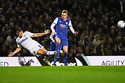 Kalvin Phillips of Leeds United (23) tackles Freddie Sears of Ipswich Town (20) during the EFL Sky Bet Championship match between Leeds United and Ipswich Town at Elland Road, Leeds, England on 24 October 2018.