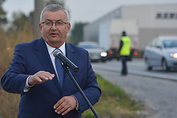 October 1, 2018 - Poland - Andrzej Adamczyk, the current Minister of Infrastructure and Construction, during a press briefing on the construction site of the Skawina bypass' last section connecting with the national road number 44. .On Monday, October 1st, 2018, in Skawina, Krakow, Poland. (Credit Image: © Artur Widak/NurPhoto/ZUMA Press)