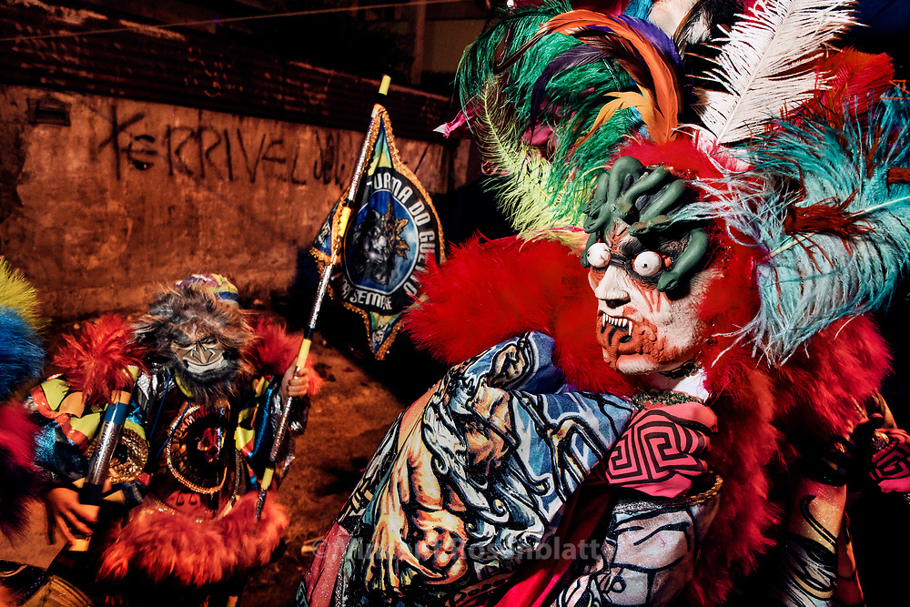 Parade of the Turma do Indio 2017 - Guadalupe, North Zone of Rio de Janeiro. The Indio is one of the most ancient and respected group of Carnival Clowns of Rio de Janeiro. That year, they inspired themselves from Ancient Greek myths for their costumes.