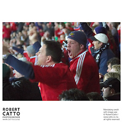 Lions Fans at the British & Irish Lions v. All Blacks Second Test at Westpac Stadium, Wellington, New Zealand.<br />