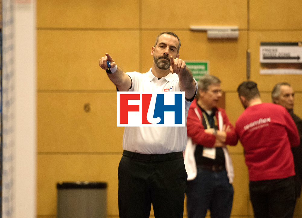 BERLIN - Indoor Hockey World Cup<br /> Kazachstan - Czech Republic<br /> foto: Umpire MARTINEZ Luis<br /> WORLDSPORTPICS COPYRIGHT FRANK UIJLENBROEK