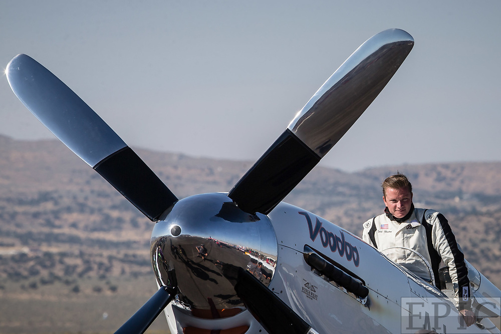 RENO, NV - SEPTEMBER 17: World record holder Steve Hinton climbs into his plane named Voodoo before the unlimited gold class heat at the Reno Championship Air Races on September 17, 2017 in Reno, Nevada. (Photo by Jonathan Devich/Getty Images) *** Local Caption *** Steve Hinton