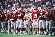 PALO ALTO, CA -  NOVEMBER 7:  Head coach Bill Walsh of Stanford University directs the offense during an NCAA football game against USC played at Stanford Stadium in Palo Alto, California on November 7, 1992.  Photograph by David Madison (www.davidmadison.com)