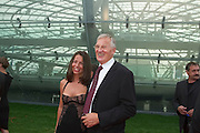 "Billa President Veit Schalle and Jeanette Kath..Hangar-7, the spectacular new home of the Flying Bulls (""Red Bull"" owner Didi Mateschitz' collection of classic airplanes), opens with aeronautical highlights like Karlheinz Stockhausen's ""Helicopter String Quartet"", a production of the Salzburg Festival, and ""Taurus Rubens"", a spectacular Theater for Flying Machines."