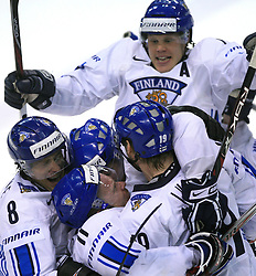 Team Finland (Selanne -8, Koivu Saku -11) celebrates the last gold goal at play-off round quarterfinals ice-hockey game USA  vs Finland at IIHF WC 2008 in Halifax,  on May 14, 2008 in Metro Center, Halifax, Nova Scotia,Canada. Win of Finland 3 : 2. (Photo by Vid Ponikvar / Sportal Images)