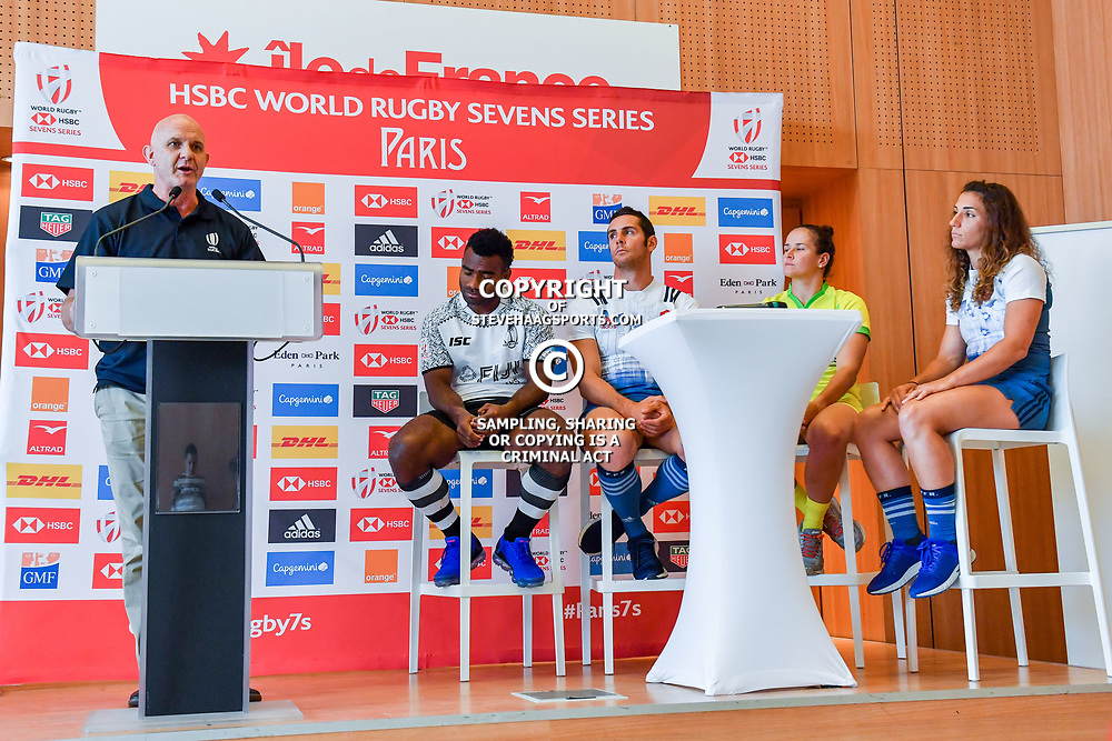 Director of the HSBC Sevens Tournament Douglas Langley, captain of Fiji Jerry Tuwai, captain of France Manoel Dall Igna, captain of Australia Shannon Parry and captain of France Fanny Horta during Captains photocall and press conference prior to the Hsbc Paris Rugby Sevens on June 6, 2018 in Paris, France. (Photo by Aude Alcover/Icon Sport)