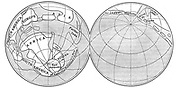 Diagram of the Earth during Carboniferous period. Land - unshaded: Deep sea - diagonal lines: Shallow water - horizontal lines. From an article by Alfred Wegener (1880-1930)  on his theory of Continental Drift (Wegener Hypothesis: 1915) published in 'Discovery', London, 1922.