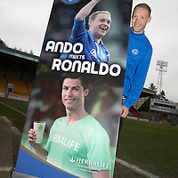 Launch of Steven Anderson's Testimonial....03.04.14<br /> Steven Anderson pictured at McDiarmid Park where his testimonial was launched to mark his ten years with St Johnstone. The testimonial is sponsored by Herbalife and they were represented by Scott and Nicola Walker of Ultimate Wellness.<br /> Picture by Graeme Hart.<br /> Copyright Perthshire Picture Agency<br /> Tel: 01738 623350  Mobile: 07990 594431