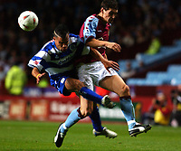 Photo. Daniel Hambury.Digitalsport<br /> Carling Cup.<br /> 22/09/2004.<br /> Aston Villa V Queens Park Rangers<br /> Aston Villa's Gareth Barry and QPR's Marcus Bignot