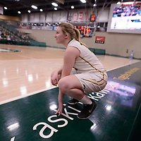 3rd year forward Alexi Rowden (10) of the Regina Cougars in action during the Women's Basketball Playoff Game on February  15 at Centre for Kinesiology, Health and Sport. Credit: Arthur Ward/Arthur Images