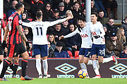 Goal - Son Heung-Min (7) of Tottenham Hotspur celebrates scoring a goal to make the score 1-2 during the Premier League match between Bournemouth and Tottenham Hotspur at the Vitality Stadium, Bournemouth, England on 11 March 2018. Picture by Graham Hunt.