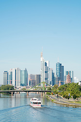 Skyline of financial district in city of Frankfurt on River Main in Hesse Germany