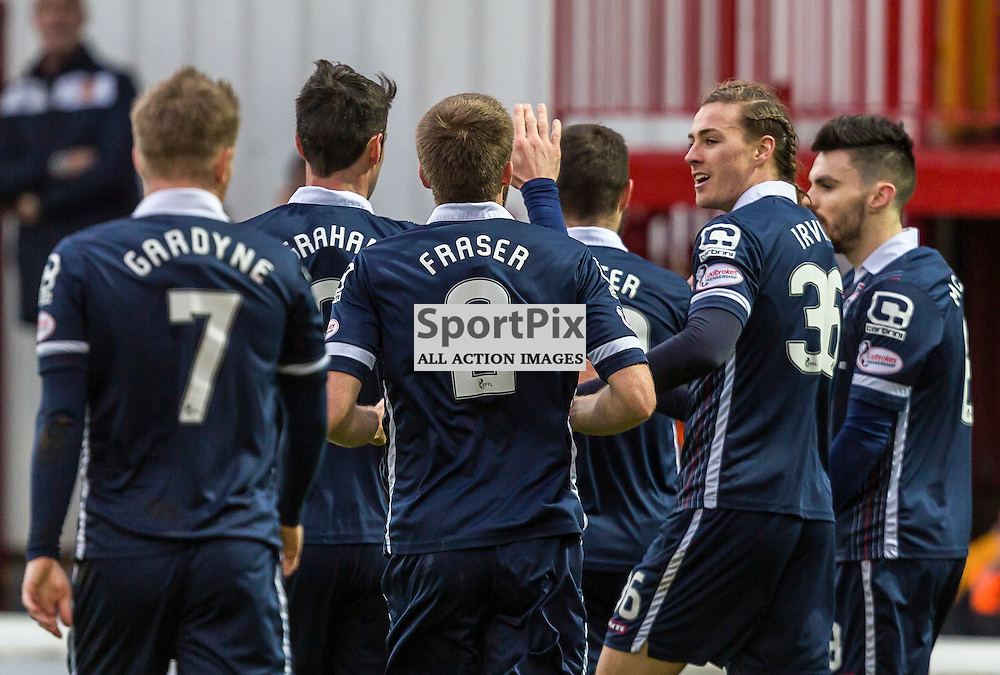 Ross County players celebrate Jackson Irvines goal during the match between Motherwell and Ross County (c) ROSS EAGLESHAM | Sportpix.co.uk