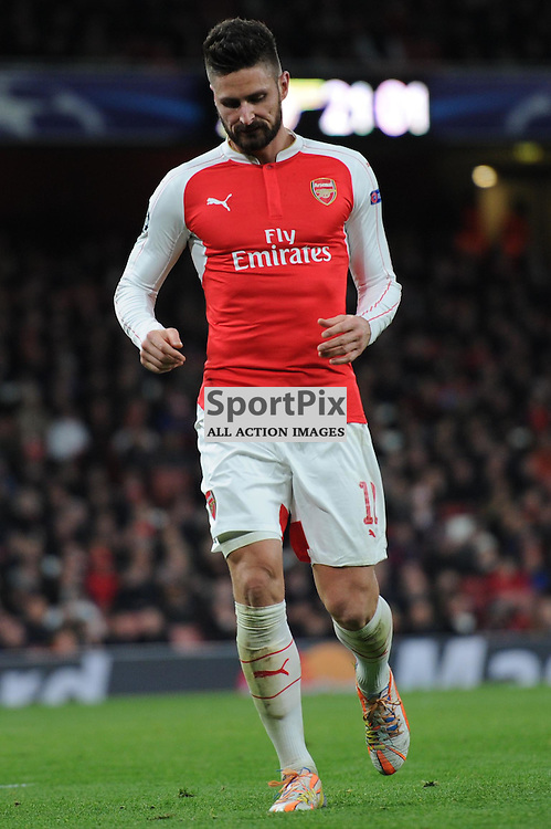 Arsenals Oliver Giroud in action during the Arsenal v Dinamo Zagreb game in the UEFA Champions League on the 24th November 2015 at the Emirates Stadium.