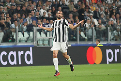 September 27, 2017 - Turin, Piedmont, Italy - Giorgio Chiellini (Juventus FC) during the UEFA Champions League (Group D) football match between Juventus FC and Olympiakos FC  at Allianz Stadium on 27 September, 2017 in Turin, Italy. (Credit Image: © Massimiliano Ferraro/NurPhoto via ZUMA Press)