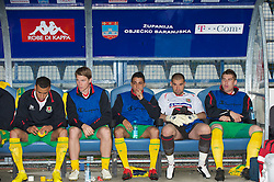 OSIJEK, CROATIA - Sunday, May 23, 2010: Wales' substitutes Hal Robson-Kanu, Christian Ribeiro, Neil Taylor, goalkeeper Boaz Myhill and Sam Vokes before the International Friendly match against Croatia at the Stadion Gradski Vrt. (Pic by David Rawcliffe/Propaganda)