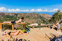 Los Santos , Colombia  - February 12, 2017 : Tourist sunbathing Mesa de Los Santos landscapes andes mountains Santander in Colombia South America